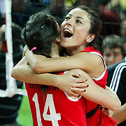 Vakifbank GS TT's players celebrate victory during their Women's Volleyball CEV Champions League semi final match at Burhan Felek Arena in Istanbul, Turkey on 20 March 2011. Photo by TURKPIX