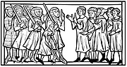 Envoys of Sultan, old merchant on crutches acting as interpreter, discussing ransoms with Christian knights taken prisoner during a Crusade. Woodcut after miniature in late 13th century manuscript 'Credo du Joinville'.