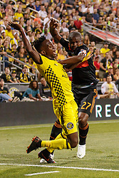 August 11, 2018 - Columbus, OH, U.S. - COLUMBUS, OH - AUGUST 11: Houston Dynamo midfielder Oscar Garcia (27) collides with Columbus Crew defender Harrison Afful (25) in the MLS regular season game between the Columbus Crew SC and the Houston Dynamo on August 11, 2018 at Mapfre Stadium in Columbus, OH. The Crew won 1-0. (Photo by Adam Lacy/Icon Sportswire) (Credit Image: © Adam Lacy/Icon SMI via ZUMA Press)