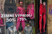 Winter Sale clothing in the window of a Smichov district business in Prague 5, on 19th March, 2018, in Prague, the Czech Republic.