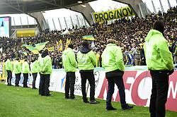 April 1, 2018 - Nantes, France, France - mise en place de la securite autour des tribunes afin d empecher l envahissement de la pelouse par les supporters de Nantes mecontents (Credit Image: © Panoramic via ZUMA Press)