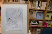 March 6, 2015, Paris, France. The last completed drawing of Charlie Hebdo cartoonist Georges Wolinski (1934-2015) that seems to announce his death. After the Islamist terrorist attack on Charlie Hebdo. The cartoonist Georges Wolinski was 80 years old when he was murdered by 2 French jihadists, he was one of the 12 victims of the massacre in the Charlie Hebdo offices on January 7, 2015 in Paris. Charlie Hebdo published caricatures of Mohammed, considered blasphemous by some Muslims. During his life, Georges Wolinski defended freedom, secularism and humour and was one of the major political cartoonists in France. Photo: Steven Wassenaar.