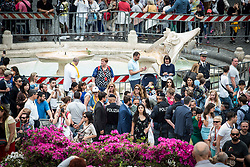 May 2, 2018 - Rome, Italy, Italy - A view of the cordoned-off Barcaccia Fountain, hours before the Champions League semifinal second leg soccer match between Liverpool and Roma, scheduled at the Olympic stadium, in Rome,on May 2, 2018 in Rome, Italy. (Credit Image: © Andrea Ronchini/NurPhoto via ZUMA Press)