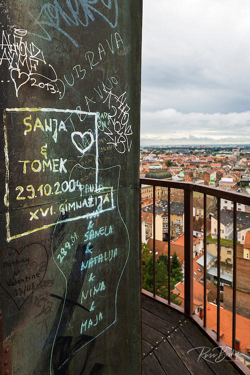 Graffiti and city view from Lotrščak Tower in old town Gradec, Zagreb, Croatia