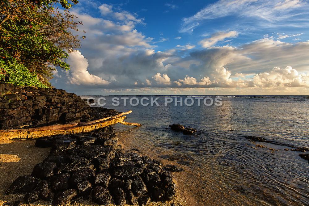The Shoreline Coast of Anini Beach in Kauai Hawaii