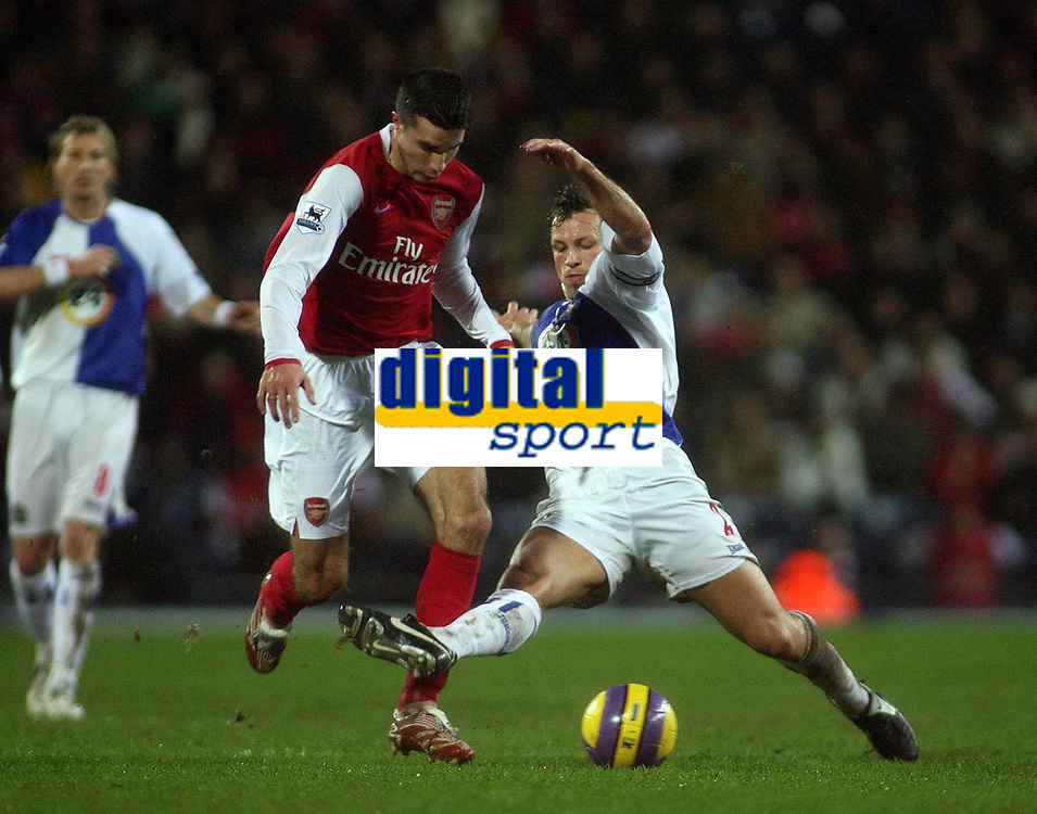 Photo: Paul Thomas.<br /> Blackburn Rovers v Arsenal. The Barclays Premiership. 13/01/2007.<br /> <br /> Robin van Persie (L) of Arsenal is fouled by Lucas Neill, this lead to the first goal to Arsenal.