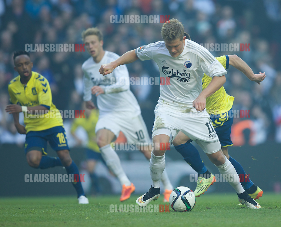Andreas Cornelius of FC København in action during the Danish Alka Superliga match between FC København and Brøndby IF at Telia Parken on March 8, 2015 in Copenhagen, Denmark. (Photo by Claus Birch)