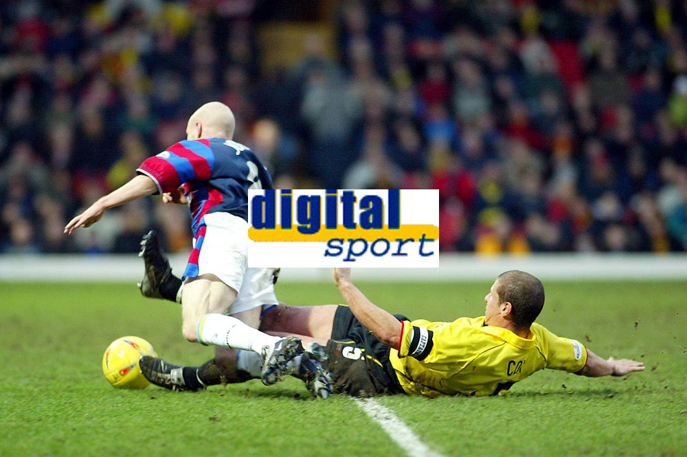 Photo: Scott Heavey.<br />Watford v Crystal Palace. Nationwide Division One. 17/01/2004.<br />Andy Johnson is brought down just inside the box to earn palace a penalty and a red card for Neil Cox