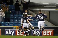 Jake Cooper of Millwall (c) celebrates with his team mates after he scores his team's third goal. EFL Skybet championship match, Millwall v Sheffield Utd at The Den in London on Saturday 2nd December 2017.<br /> pic by Steffan Bowen, Andrew Orchard sports photography.