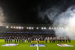 line up during the UEFA Champions League group F match between Feyenoord Rotterdam and Manchester City at the Kuip on September 13, 2017 in Rotterdam, The Netherlands