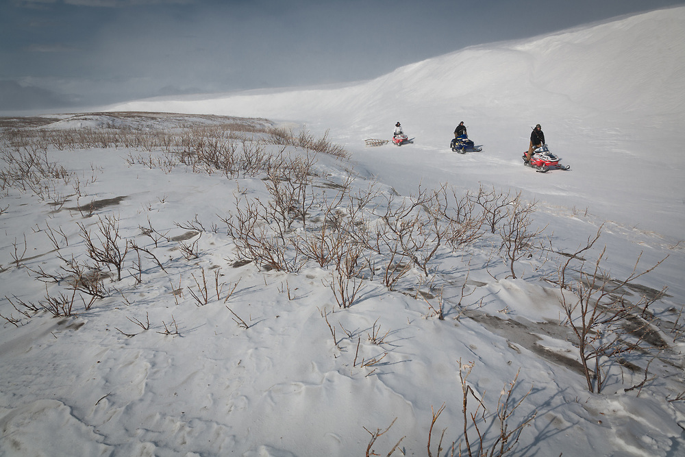 Iñupiaq hunters on snowmobiles, Point Hope, Alaska4