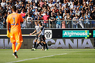 Baptiste GUILLAUME (SCO Angers) celebrated it goal scored with Romain THOMAS (SCO Angers), Vincent MANCEAU (SCO Angers), Benoit Costil (Girondins de Bordeaux) during the French championship L1 football match between SCO Angers and Bordeaux on August 6th, 2017 at Raymond-Kopa stadium, France - PHOTO Stéphane Allaman / ProSportsImages / DPPI