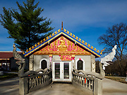 14 APRIL 2019 - DES MOINES, IOWA: The ordination hall at Wat Lao Buddhavath in Des Moines. Several thousand Lao people live in Des Moines. Most came to the US after the wars in Southeast Asia.       PHOTO BY JACK KURTZ