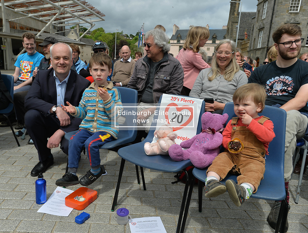 Protesters rallied outside the Scottish Parliament as the bill by Mark Ruskell to introduce a 20mph safer streets bill nationwide is set to be debated in the parliament this week.<br /> <br /> © Dave Johnston / EEm
