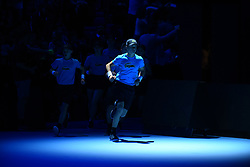 November 12, 2017 - London, United Kingdom - Ballkids enter the pitch before Roger Federer of Switzerland and Jack Sock of the USA play the opening singles round robin match  during the Nitto ATP World Tour Finals at O2 Arena, London on November 12, 2017. (Credit Image: © Alberto Pezzali/NurPhoto via ZUMA Press)