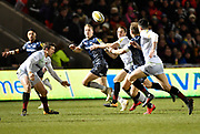 Sale Sharks centre Will Addison feeds a pass to full-back Mike Haley during the Aviva Premiership match Sale Sharks -V- Sarcens at The AJ Bell Stadium, Salford, Greater Manchester, England on Friday, February 16, 2018. (Steve Flynn/Image of Sport)