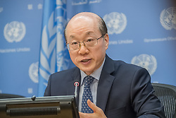 July 3, 2017 - New York, NY, United States - On the first work day of China's month-long Presidency of the United Nations Security Council, Chinese Permanent Representative to the UN Ambassador Liu Jieyi held a press briefing at UN Headquarters to provide an overview of the Council programme of work. (Credit Image: © Albin Lohr-Jones/Pacific Press via ZUMA Wire)
