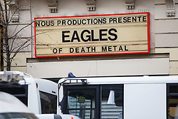 © Licensed to London News Pictures. 17/11/2015. Paris, France. Eagles of Death Metal sign on Bataclan Cafe in Paris, France following the Paris terror attacks on Tuesday, 17 November 2015. Photo credit: Tolga Akmen/LNP