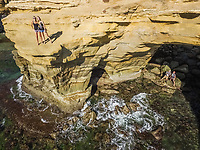 SAN DIEGO, USA - September 16 2016 : Aerial view of friends on the cliff in San Diego, USA.