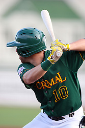 11 August 2012:  Tyler Wiesemeyer bats during a Frontier League Baseball game between the River City Rascals and the Normal CornBelters at Corn Crib Stadium on the campus of Heartland Community College in Normal Illinois.  The CornBelters take this game in 9 innings 7 - 2 with a 5 run 2nd inning.