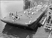 """9904-B07. """"Barge for Air Force, Albina Engine & Machine Works. October 1952"""" (no story in newspaper)"""