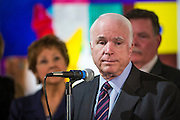 23 AUGUST 2012 - PEORIA, AZ:  Senator JOHN McCAIN (R-AZ) speaks at a press conference in Peoria, AZ. Sen. McCain held a town hall in Peoria, AZ, a suburb of Phoenix, to talk about the impact that sequestration would have on the Arizona economy and the Department of Defense. McCain said sequestration would immediately cost Arizona more than 35,000 defence related jobs and decimate the armed forces. Sequestration would result in about $1.2 trillion being cut from the federal budget. Sequestration, and automatic budget cuts, is scheduled to go into effect on Jan 1, 2013, if the President and Congress can't agree on budget.     PHOTO BY JACK KURTZ