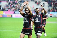 Joie Yoann HUGET / Timoci MATANAVOU - 24.04.2015 - Stade Francais / Stade Toulousain - 23eme journee de Top 14<br />