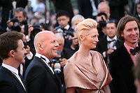 Actors Edward Norton, Bruce Willis, Actress Tilda Swinton and director Wes Anderson at the gala screening of the film Moonrise Kingdom at the 65th Cannes Film Festival. Wednesday 16th May 2012, the red carpet at Palais Des Festivals in Cannes, France.