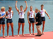 Eton Dorney, Windsor, Great Britain,..2012 London Olympic Regatta, Dorney Lake. Eton Rowing Centre, Berkshire.  Dorney Lake.  ..Men's Fours Medal's AUS M4- Silver Medalist, GBR M4- Gold Medalist and USA M4- Bronze Medalist...12:04:00  Saturday  04/08/2012 [Mandatory Credit: Peter Spurrier/Intersport Images]