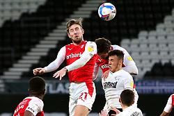 Angus MacDonald of Rotherham United heads at goal - Mandatory by-line: Ryan Crockett/JMP - 16/01/2021 - FOOTBALL - Pride Park Stadium - Derby, England - Derby County v Rotherham United - Sky Bet Championship
