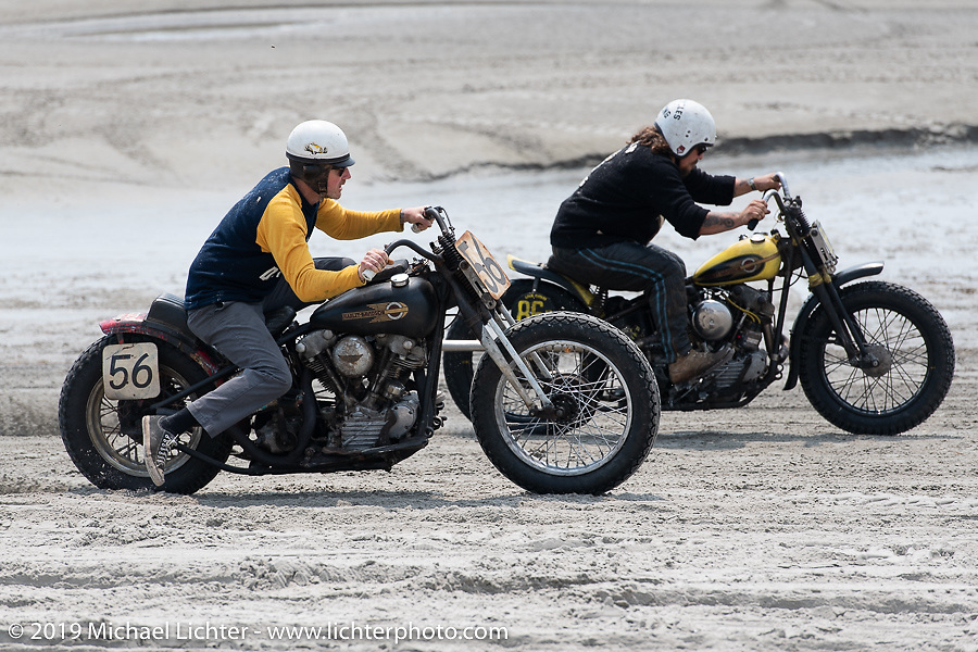 Each riding their Harley-Davidson Knucklehead racer, Jason Sheets goes head to head against Jeremiah Armenta at TROG (The Race Of Gentlemen). Wildwood, NJ. USA. Saturday June 9, 2018. Photography ©2018 Michael Lichter.