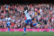 Yannick Bolasie of Crystal Palace celebrates after scoring his sides 1st goal to make it 1-1. Barclays Premier league match, Arsenal v Crystal Palace at the Emirates Stadium in London on Sunday 17th April 2016.<br /> pic by John Patrick Fletcher, Andrew Orchard sports photography.
