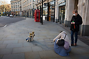 Couple photographing their dogs on the empty streets by St Pauls on 27th March 2020 in London, United Kingdom. London is like a ghost town as workers stay home during the Coronavirus pandemic.