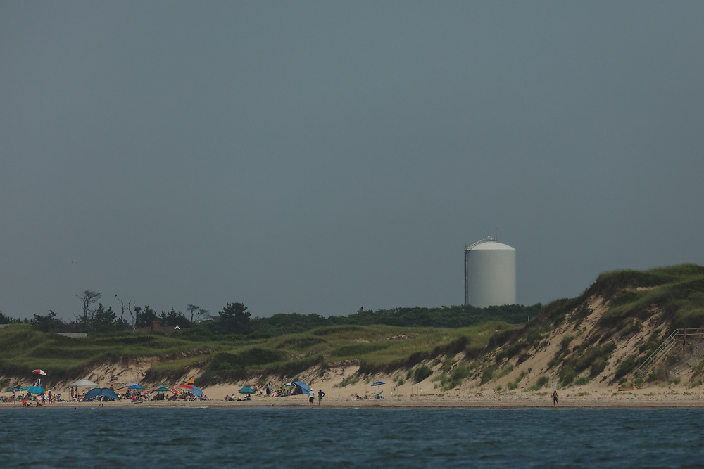 The Nantucket Water Tower and beach landscape of the island.