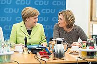 27 MAR 2016, BERLIN/GERMANY:<br /> Angela Merkel (L), CDU, Budneskanzlerin, und Julia Kloeckner (R), CDU Landesvorsitzender Rheinland-Pfalz, im Gespraech, vor Beginn einer Sitzung des Bundesvorstandes nach der Landtagswahl im Saarland, Konrad-Adenauer-aus<br /> IMAGE: 20170327-01-017<br /> KEYWORDS: Julia Klöckner, Gespräch