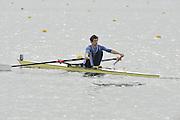Eton, United Kingdom  GBR LM1X. Sam SCRIMGEOUR at the start of his time trial men's lightweight single sculls at the 2012 GB Rowing Senior Trials, Dorney Lake. Nr Windsor, Berks.  Saturday  10/03/2012  [Mandatory Credit; Peter Spurrier/Intersport-images]