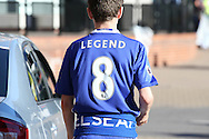 a Chelsea fan wearing his Legend No.8 shirt (to represent Ex-Chelsea player Frank Lampard)  outside Stamford Bridge before k/o. Premier league match, Chelsea v West Ham United at Stamford Bridge in London on Monday 15th August 2016.<br /> pic by John Patrick Fletcher, Andrew Orchard sports photography.