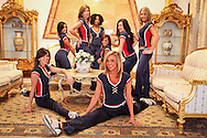 Buffalo Jills,  cheerleaders for the Buffalo Bills  football team pose at the JVC in the Green Zone in 2009 during their trip to Iraq to entertain the troops.