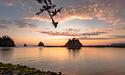 La Push, Washington - Mouth of the Quillayute River and Little James Island at sunset