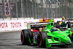 LONG BEACH, CA - APR 17: IndyCar Series driver Danica Patrick drives car #7 of Andretti Autosport at turn 1. Photo by Eduardo E. Silva