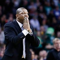 10 February 2013: Boston Celtics head coach Doc Rivers reacts during the Boston Celtics 118-114 3OT victory over the Denver Nuggets at the TD Garden, Boston, Massachusetts, USA.