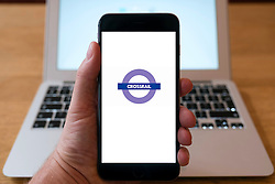 Crossrail underground company logo on  website on smart phone screen.