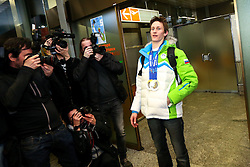 Peter Prevc at reception of Slovenia team arrived from Winter Olympic Games Sochi 2014 on February 19, 2014 at Airport Joze Pucnik, Brnik, Slovenia. Photo by Vid Ponikvar / Sportida