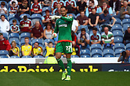 Brentford Goalkeeper David Button makes his point. Skybet football league championship match, Burnley  v Brentford at Turf Moor in Burnley, Lancs on Saturday 22nd August 2015.<br /> pic by Chris Stading, Andrew Orchard sports photography.