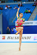 Russo Alessia during qualifying clubs at the Pesaro World Cup April 2, 2016. Alessia is an Italian individual rhythmic gymnast, she was born in September 24 1996 Figline Valdarno, Italy.