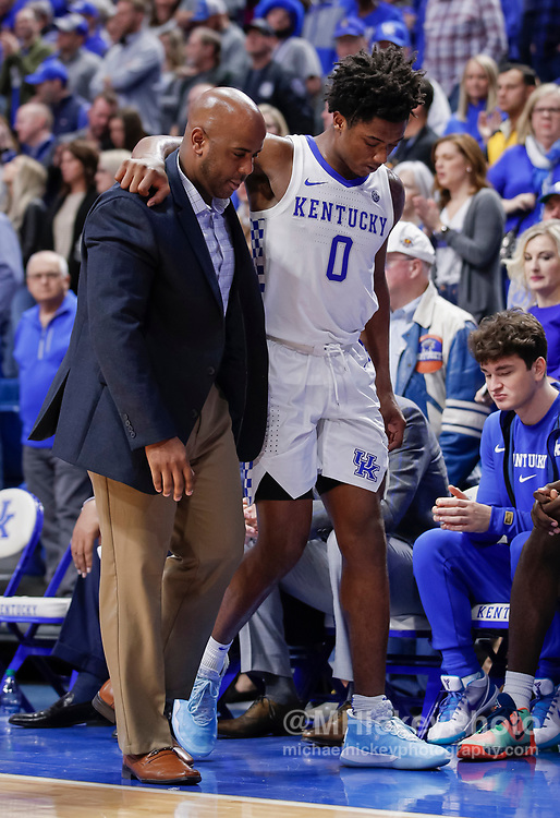 LEXINGTON, KY - JANUARY 04: Ashton Hagans #0 of the Kentucky Wildcats walks off the court with an injury during the second half against the Missouri Tigers at Rupp Arena on January 4, 2020 in Lexington, Kentucky. (Photo by Michael Hickey/Getty Images) *** Local Caption *** Ashton Hagans