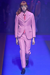 Model Tex Santos-Shaw walks on the runway during the Gucci Fashion Show during Milan Fashion Week Spring Summer 2018 held in Milan, Italy on September 20, 2017. (Photo by Jonas Gustavsson/Sipa USA)