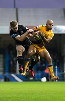 Glasgow's Brandon Thomson and Exeter Chiefs' Tom O'Flaherty compete for a high ball<br /> <br /> Photographer Bob Bradford/CameraSport<br /> <br /> Heineken Champions Cup Group B - Exeter Chiefs v Glasgow Warriors - Sunday 13th December, 2020 - Sandy Park - Exeter<br /> <br /> World Copyright © 2020 CameraSport. All rights reserved. 43 Linden Ave. Countesthorpe. Leicester. England. LE8 5PG - Tel: +44 (0) 116 277 4147 - admin@camerasport.com - www.camerasport.com