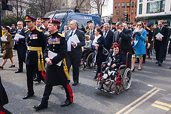 Cheapside, City of London, March 13th 2015. A Service attended by members of the Royal Family and politicians at St Paul's is followed by a parade through The City as troops and their families mark the end of Britain's involvement in the war in Afghanistan.
