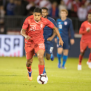 EAST HARTFORD, CONNECTICUT- October 16th:  Edison Flores #20 of Peru in action during the United States Vs Peru International Friendly soccer match at Pratt & Whitney Stadium, Rentschler Field on October 16th 2018 in East Hartford, Connecticut. (Photo by Tim Clayton/Corbis via Getty Images)
